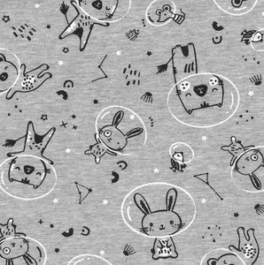 Astro Animals grey melange - French Terry €21,90 p/m