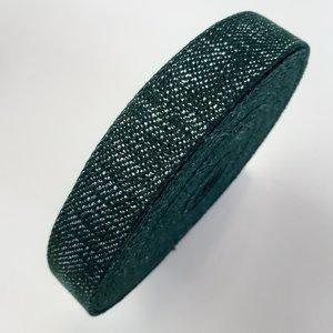 Tassenband FOREST GREEN - SILVER LUREX 30mm €4 p/m