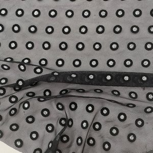 Bittoun - Tule zwart/zilver stip €19 p/m