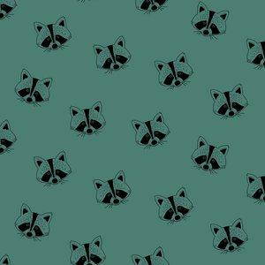 Verhees Raccoon dark cyan  SOFT SWEAT - €16 p/m GOTS