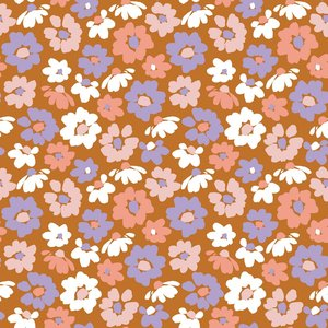 Verhees GOTS  - Dark apricot flower €13,50 p/m jersey (GOTS)