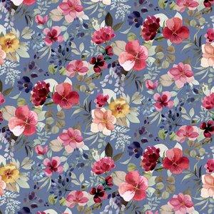 Verhees GOTS  - Blue shadow flower €14,90 p/m jersey (GOTS)