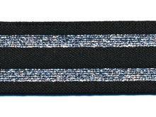 Glitter zwart-zilver elastiek 30 mm