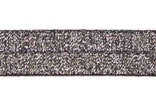 Zwartzilver glitter - Elastisch Biais