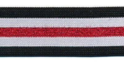 Glitter zwart-wit-rood elastiek 30 mm