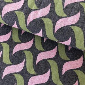 AlbStoffe - Hamburger Liebe - Botanical plait (grey/green/pink) €26,50 p/m GOTS