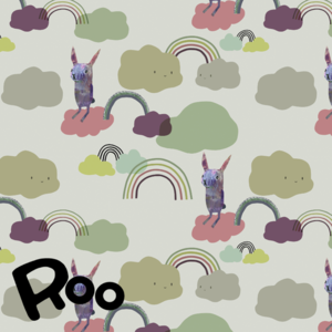 Roo - Over the rainbow grassy  (bio jersey) €24 p/m