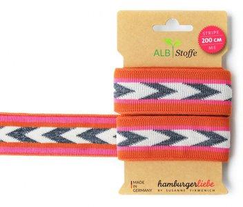 Alb Stoffe - Stripe me 200cm  - Oranje/roze met glitter zilver €9,10 p/s