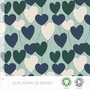 Elvelyckan  - Happy heart blue €24 p/m jersey (GOTS)