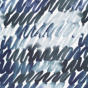 Cloud 9 - Scribbles in Blue Cotton Sateen €22 p/m (biokatoen)