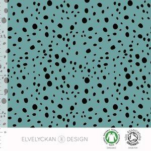 COUPON 65cm Elvelyckan  - Aqua Dots €24 p/m jersey (GOTS)