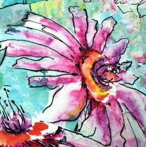 Tidoeblomma - Aqua flowers (GOTS summersweat) €21,90 p/m